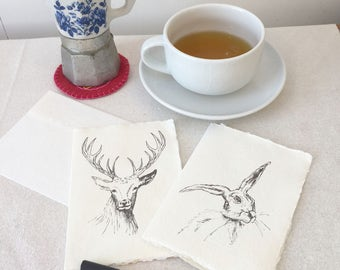 Notecards - Hare, Stag, notelets, british wildlife, animal lover, countryside, greeting cards, handmade paper,  Free UK shipping, UK seller