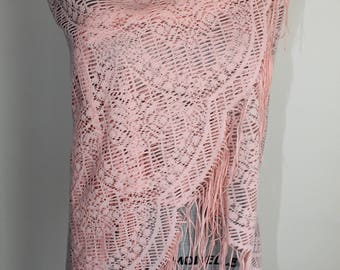 70s Pink Fringed Shawl by Baar and Beards Vintage Shoulder Wrap