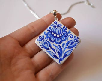 jewelry blue white necklaces gift for her charm jewelry handmade Daughter Gift ideas bridesmaids jewelry blue necklace girlfriend gift wife