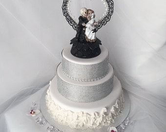 Halloween Bride And Groom Wedding Cake Topper With Black White Heart