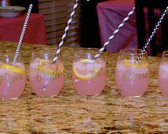 SET OF 8 Bachelorette Wine Glasses/Bachelorette Party/ Bridesmaids Gift/ Wedding Party/ Pop Fizz Clink