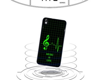Music Is life Heart Monitor for Htc One M7 M8 M9 Htc One X Htc Desire 816 Plastic Rubber Phone