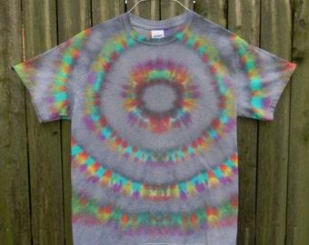 Grey / Rainbow Tie Dye T-Shirt (M)