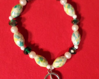 PEACE SIGN Emerald Green Charm Bracelet with Extra Stretch OOAK **Listing Ends July 1st, 2017**