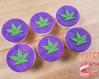 Cannabis Leaf Cupcake Toppers: Set of 6 (MADE TO ORDER)