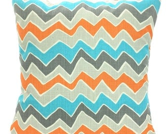 SALE Orange Aqua Chevron Pillow Covers Decorative Throw Pillows Cushion Covers Couch Pillows Zig Zag See Saw Couch Bed 12 x 16 or 12 x 18