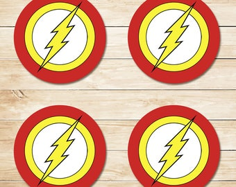 The Flash Sticker / The Flash Cupcake Topper / The Flash Party Favor / Flash Party / Superhero Party / The Flash Birthday 3.5 Inch Circles