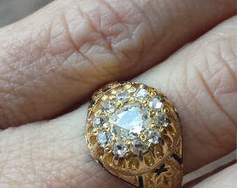 Victorian European Cut diamond Surround with Enamel Accents in 18k Gold