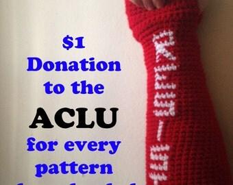 Resist Crochet Pattern, Anti Trump Instructions, Crochet Fingerless Gloves, ACLU Donation Pattern, Resist Trump Gloves, How to Crochet Glove