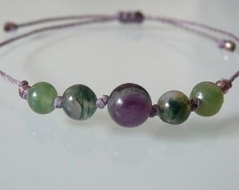"Bracelet beads ""Optimism and Innovation"", Fluorite, MOSS Agate, Meditation, Yoga, Zen, minimalist, Chakra, Lithotherapy"