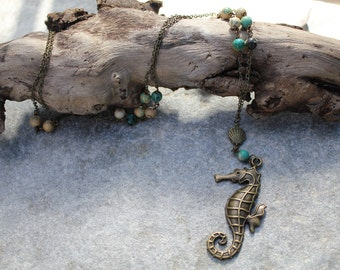 Ocean Tides Beaded Necklace - Seahorse Pendant - Beach Jewelry - Coastal Jewelry - Coastal Gifts - Bronze Chain - Mermaids - Beachwear