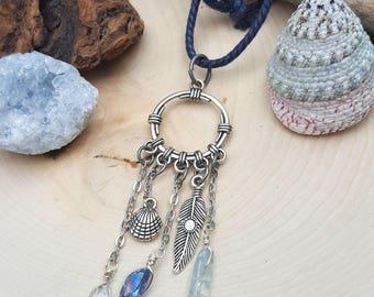 Silver Dreamcatcher Rearview Mirror Accessory - Boho Beach - Car Jewelry - Car Accessory - Wanderlust - Quartz Crystals - Beach Vibes