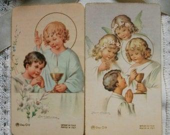 Communion Card.Ephemera.Catholic.Angel.llustration.Pastel color.Religious Card.Blessed.Vintage ceremony.Holy Card.Religious document.