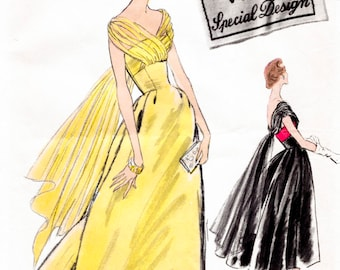 1950s 50s ball gown evening dress in two lengths Vintage Sewing Pattern Bust 34  repro