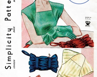 1930s 30s Vintage accessories Sewing Pattern blouse, hat, gloves, belt, winter muffs bust 38 Instant Download