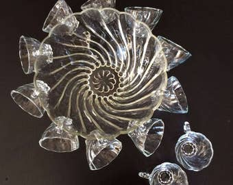 swirled glass punch bowl and matching cups
