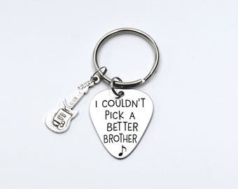 "Guitar pick,""I couldn't pick a better brother"" , music lover,brother gift, friend gift"