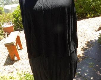 Beautiful black vintage two layer dress top, tunic, size uk 14-16, usa 12-14