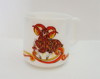 Vintage 1976 Beverly Aries Horoscope Coffee Mug • Coffee Cup • White Milk Glass • Aries the Ram • March • April • Birthday • Birthday Gift