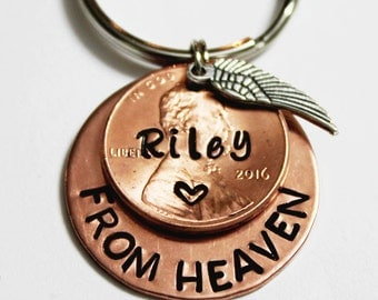 PENNIES FROM HEAVEN. A Penny From Heaven. Memorial Penny. Personalized Memorial. Memorial. Angel Wing. Personalized. Penny Keychain.