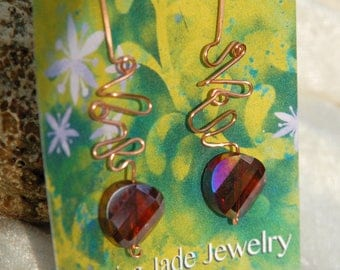 Wire sculpture earrings with iridescent crystal bead Asymmetrical Drop Earrings