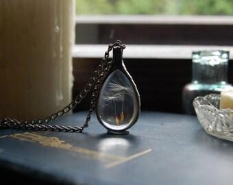 Small DANDELION terrarium, WISH necklace, make a wish, terrarium pendant, terrarium jewelry, dandelion jewelry, botanical, natural jewelry