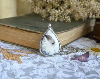 DENDRITIC AGATE necklace, white agate pendant, gemstone necklace, agate necklace, old silver pendant, occult necklace, carved, wiccan