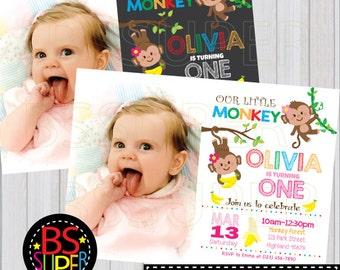 Monkey Birthday Invitation , Monkey Birthday Party , Monkey Invitation, Monkey party invite