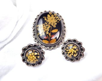 Mexico Sterling Silver Pendant Earrings Pin Brooch Set Vintage Lucite Dried Flowers Old Mexican