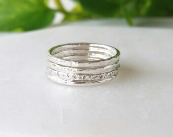Sterling Silver Rings - Multi textured rings - Set of 4 - Stackable rings - Statement Rings - Handmade