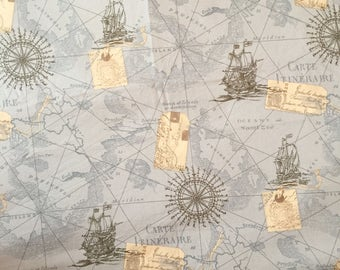 MAP FABRIC By The Yard, World Map Fabric, Vintage map print fabric, Grey Fabric by the Yard, Quilting Fabric 100% Cotton Fabric