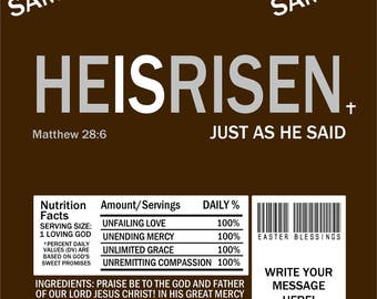 Printable HE IS RISEN Easter Candy Bar Wrappers 1.55 oz. Hershey's Milk Chocolate Church Treats Jesus