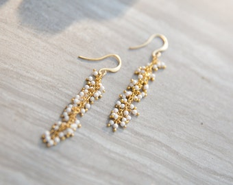 Gold Long Earrings, White Dangly Earrings, Bridal Earrings, Formal Earrings, Party Earrings, Magnesite and Gold Earrings, Bridesmaid Gifts