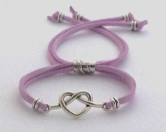 Silver Heart Bracelet, heart charm bracelet, beaded heart bracelet, women heart cord bracelet, trendy heart bracelet, simple charm bracelet