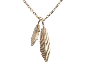 feather party -  14k gold plated