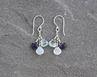Moonstone, Aquamarine and Iolite Earrings, Moonstone Aquamarine Clusters, Blue Cluster Earrings, Sterling Silver, Blue Gemstone Earrings