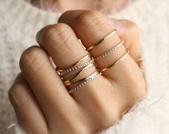 ring set of 2 stacked gold rings stacking ring set stackable rings set gold ring set