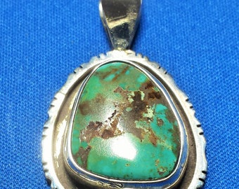 Southwestern Sterling Silver and Turquoise Pendant