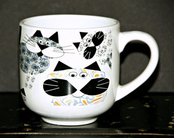 Paisley Cats Large Mug, Whimsical, Chef Elect, Tabby, Calico, Black, White, Felines, Coffee, Tea, Hot Chocolate, Collectible, Kitsch, 1990s