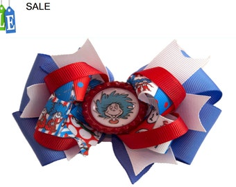 Cat in the Hat, Thing 1 hair bow, Cat in the Hat hair bow Thing 1 hair bow