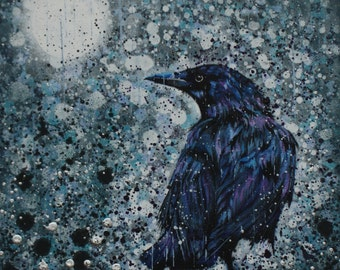 The Rain Raven/Raven/corvid/original painting/rain/moon/bird/bridget skanski-such/wildlife/spatters/grey/gothic/canvas/crow/rook