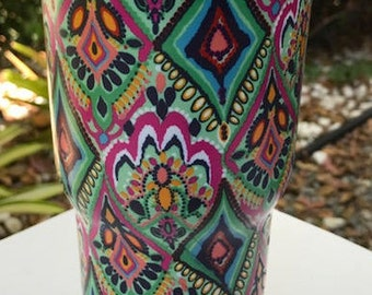LILLY INSPIRED 30 0z Tumbler..with MONOGRAMMING Perfect for Graduation...