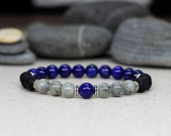 Protection bracelet Men gift-for-men bracelet-for-him gift-for-boyfriend gift Mala bracelet Gemstone bracelet Spiritual jewelry Yoga jewelry