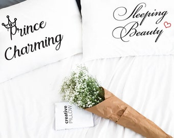 2 Year Anniversary Gift for Couple pillow cases Prince charming Sleeping beauty 2nd Anniversary Couple pillowcases