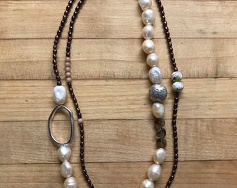 Garnet and fresh water pearl double strand necklace