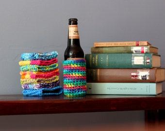 Beer Cozy // Vegan Rainbow Tie Dye Beer Bottle Cozy // Crochet Cotton Reusable Glass Bottle Cozy