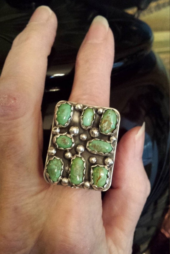 Sterling silver native American turquoise designer ring