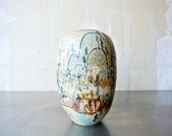 Amazing Linda Huey Vase - Linda Huey Pottery - Ceramic Vase - Designer Ceramic Vase - American Pottery - Clay Vase - Flower Vase - Scenic