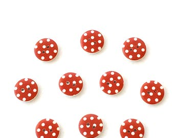 10 wooden 15mm spotty Buttons in red and white