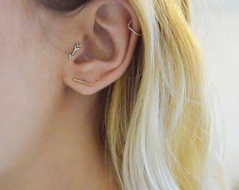 Arrow Tragus Earring, Arrow Cartilage Earring, Arrow Stud Earring, Cute Tragus Earrings, Cartilage Earrings, Sterling Silver Arrow Nose Stud